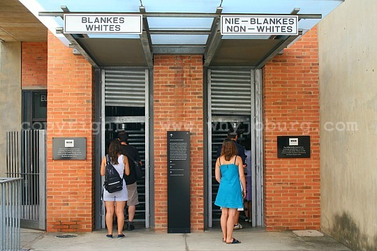 The racially segregated entrance turnstiles to the Apartheid Museum in Johannesburg