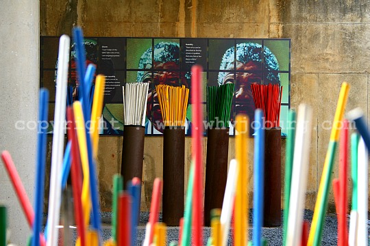 Sticks, each colour representing a different speech by Nelson Mandela, chosen by visitors according to which speech they particularly liked