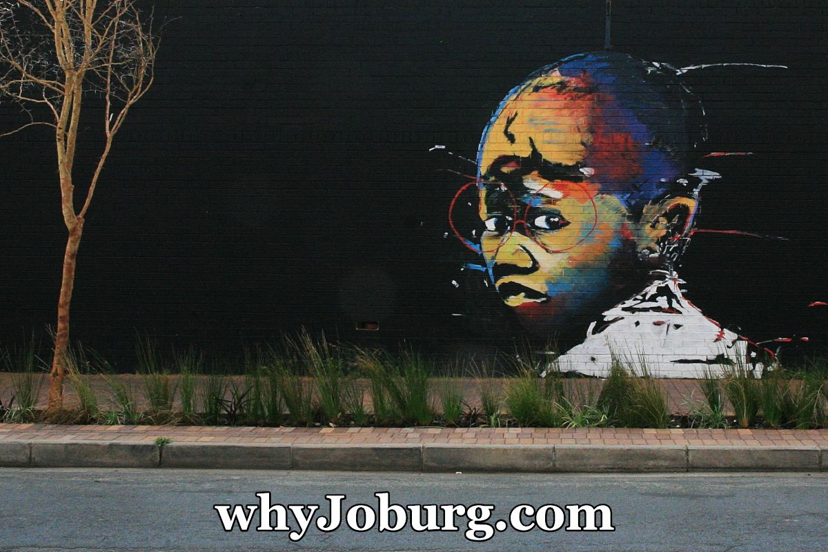 Street art, commonly called graffiti, by Nelson Makamo on a wall in Maboneng, Johannesburg