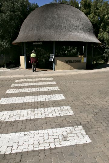 The entrance and welcome area at the Lion and Safari Park near Johannesburg