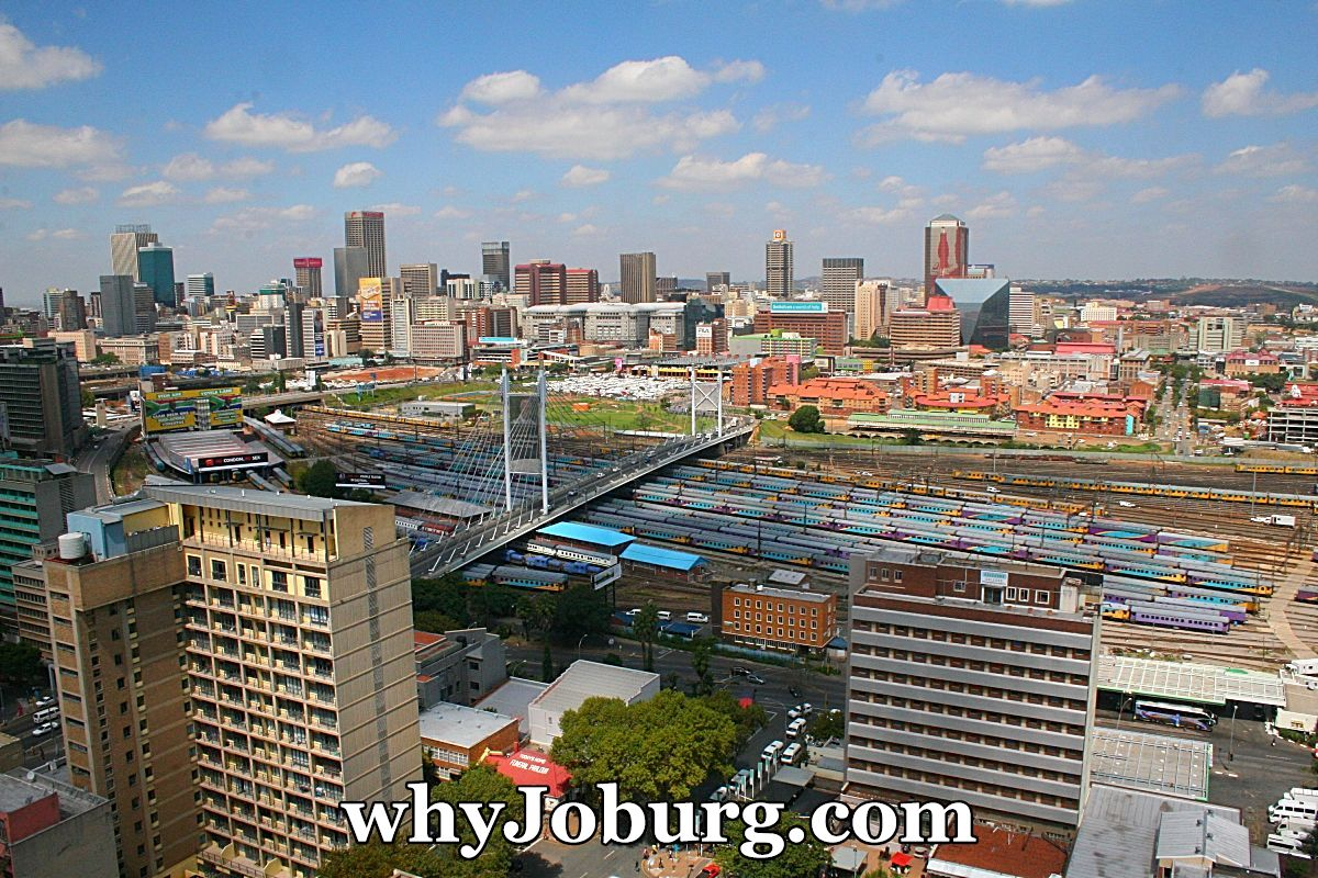 The Johannesburg city centre beyond the railway lines of Park Station