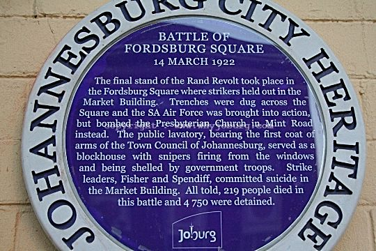 The Blue Johannesburg Heritage Plaque commemorating the Battle of Fordsburg Square on 14th March 1922, during the Rand Revolt!