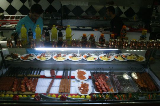 Urfa, Adana and Beef Cube kebabs waiting to be ordered in the in the Istanbul Turkish Restaurant in Fordsburg