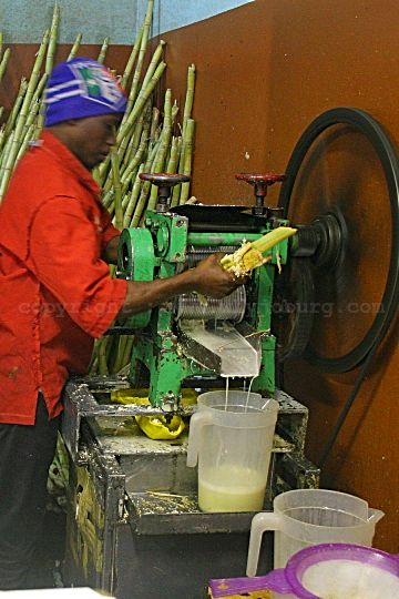 Sugar cane being crushed to extract the juice that's used in a number of fresh juices on sale at The Juice Den in Fordsburg.
