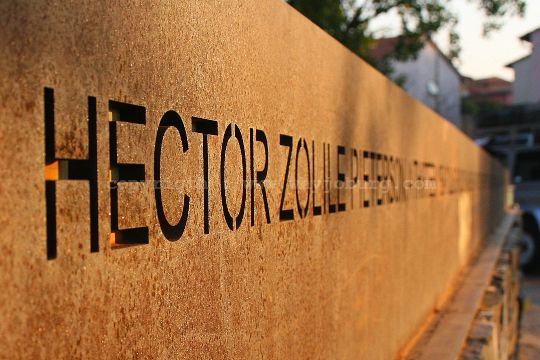 A memorial erected on the spot where  Hector Pieterson was shot, but now thought to mark the wrong place!