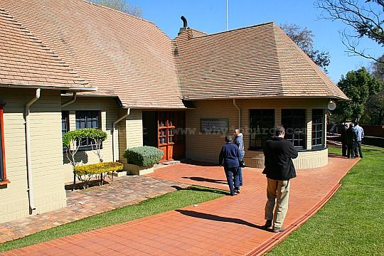 The entrance to the renovated farm house at Liliesleaf Farm in the Johannesburg suburb of Rivonia, where Arthur Goldreich and his family lived.