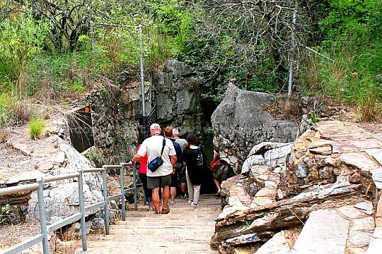 The start of the 115 steps that lead down into the Sterkfontein Caves in the Cradle of Humankind near Johannesburg