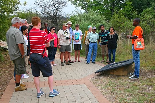Before going underground, Norman our guide, explained a number of exhibits in the interpretive, open air museum at the Sterkfontein Caves in the Cradle of Humankind near Johannesburg