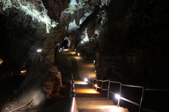 Looking down the stairs towards the underground lake in the Sterkfontein Caves in the Cradle of Humankind near Johannesburg