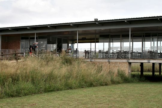 Part of the modern visitors centre with ticket office, shop, restaurant and interpretive museum at the Sterkfontein Caves in the Cradle of Humankind near Johannesburg