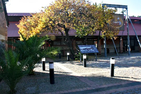 The yard, showing the tree that migrant workers were tied to, at the Johannesburg Workers Museum