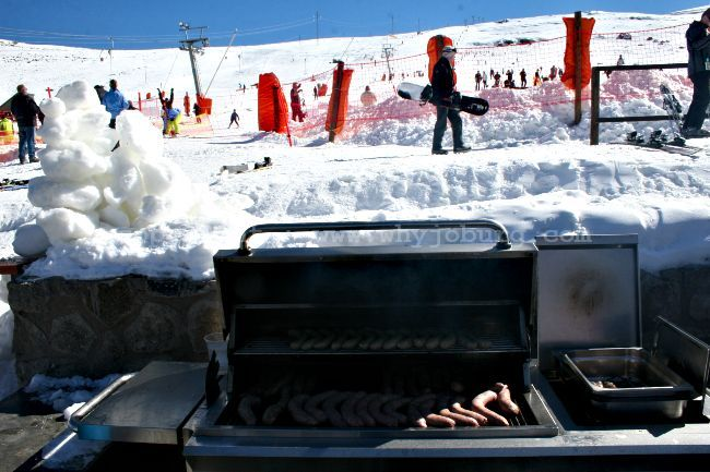Boerewors being cooked on the braai for hungry skiers at the Afriski Mountain Lodge in Lesotho