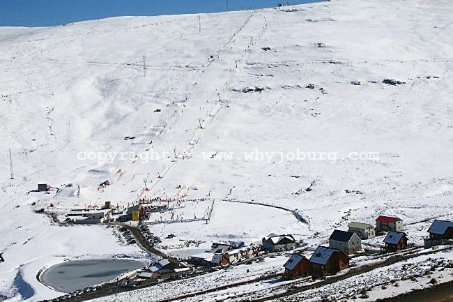 View looking over the Afriski Mountain Lodge Resort in Lesotho, towards the 1,1 km ski slope on the far hill.