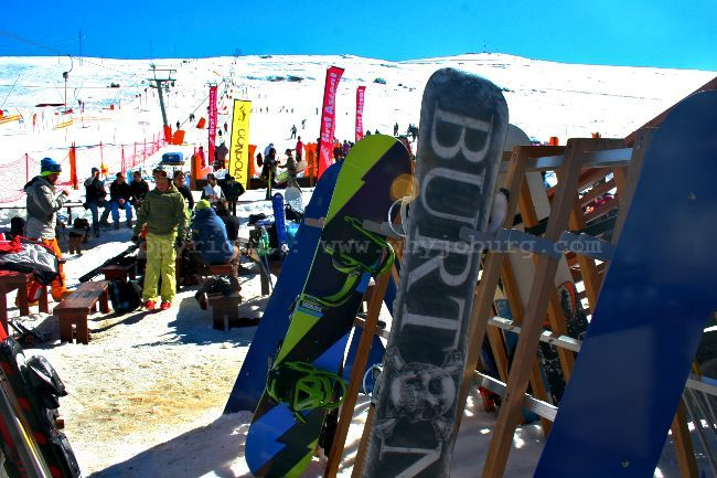 Snowboards waiting to be used, at the bottom of the 1,1 km ski slope at the Afriski Mountain Lodge in Lesotho