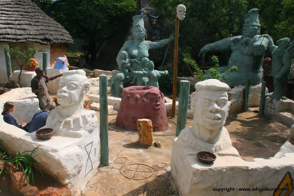 Vusamazulu Credo Mutwa, a traditional healer, cultural historian, author, painter, sculptor and mystic prophet, sculpted King Khandakulu and the gods at the KwaKhaya LeNdaba living museum in Soweto.