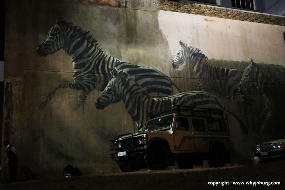 """Faith 47 urban zebra herd street art """"Una Salus Victis Nullam Sperare Salutem"""""""